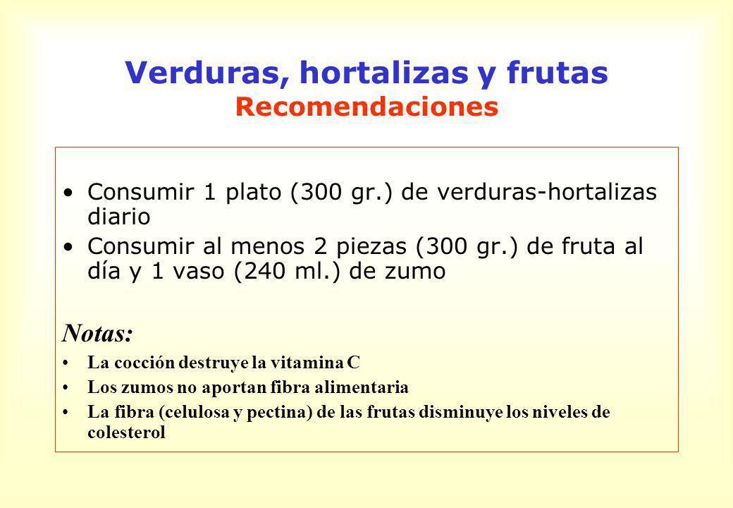 Verduras, hortalizas y frutas Recomendaciones Consumir 1 plato (300 gr.) de verduras-hortalizas diario Consumir al menos 2 piezas (300 gr.) de fruta a