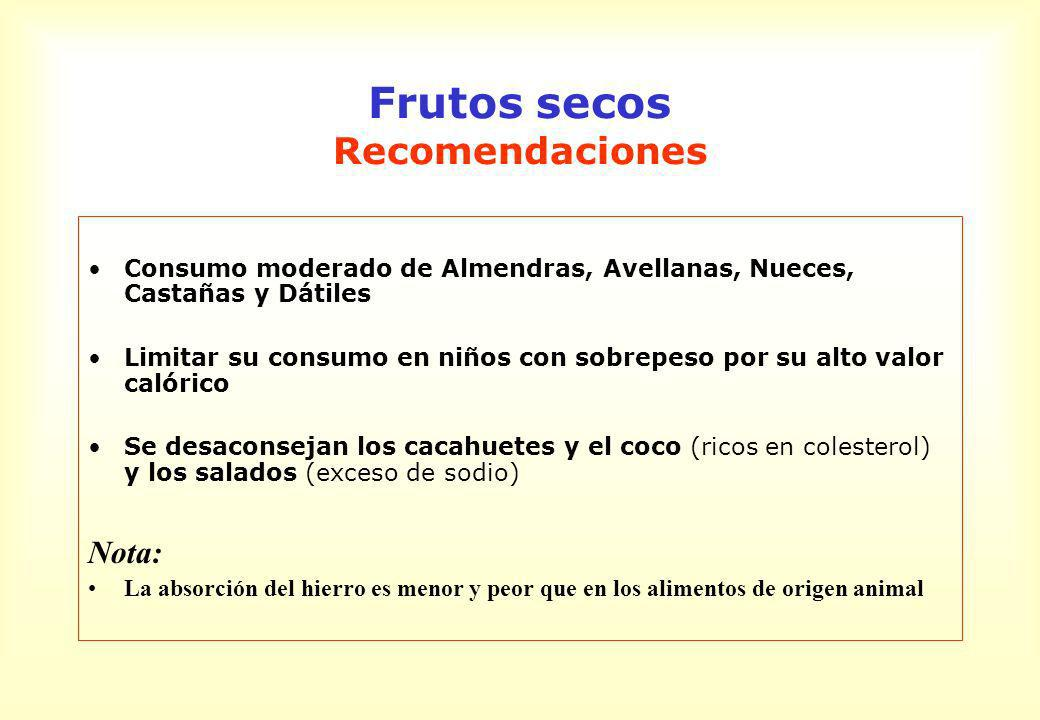 Frutos secos Recomendaciones Consumo moderado de Almendras, Avellanas, Nueces, Castañas y Dátiles Limitar su consumo en niños con sobrepeso por su alt