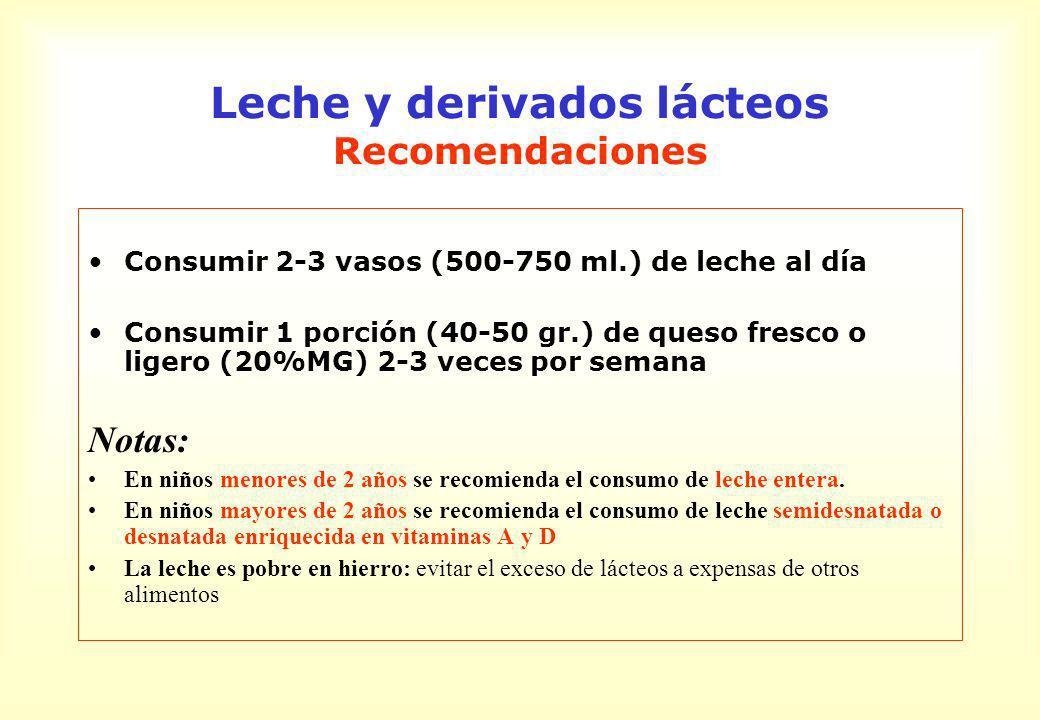 Leche y derivados lácteos Recomendaciones Consumir 2-3 vasos (500-750 ml.) de leche al día Consumir 1 porción (40-50 gr.) de queso fresco o ligero (20