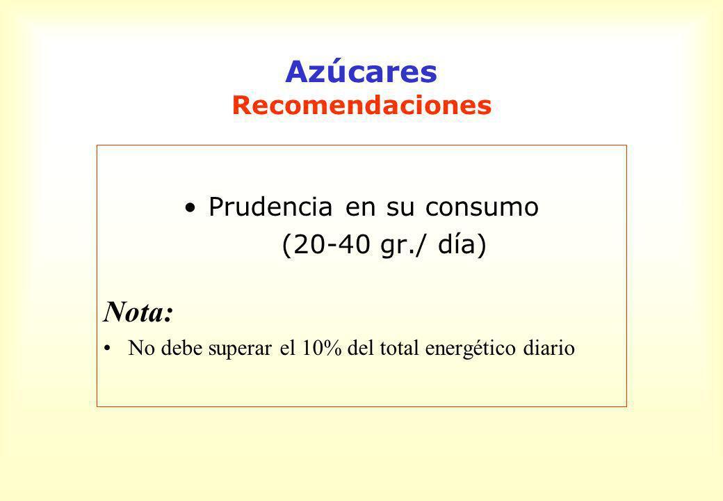 Azúcares Recomendaciones Prudencia en su consumo (20-40 gr./ día) Nota: No debe superar el 10% del total energético diario