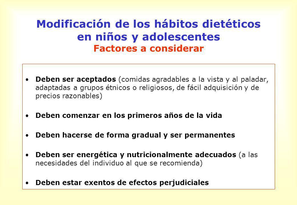 Modificación de los hábitos dietéticos en niños y adolescentes Factores a considerar Deben ser aceptados (comidas agradables a la vista y al paladar,