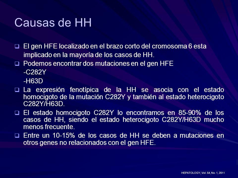 Causas de HH El gen HFE localizado en el brazo corto del cromosoma 6 esta implicado en la mayoría de los casos de HH. Podemos encontrar dos mutaciones