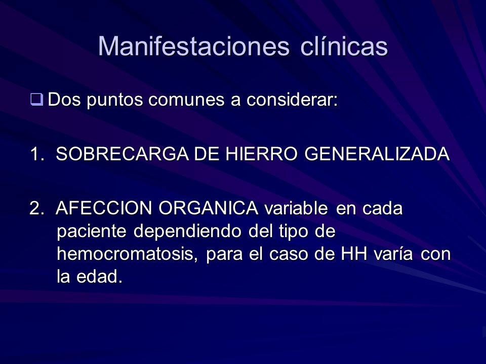 Manifestaciones clínicas Dos puntos comunes a considerar: Dos puntos comunes a considerar: 1. SOBRECARGA DE HIERRO GENERALIZADA 2. AFECCION ORGANICA v