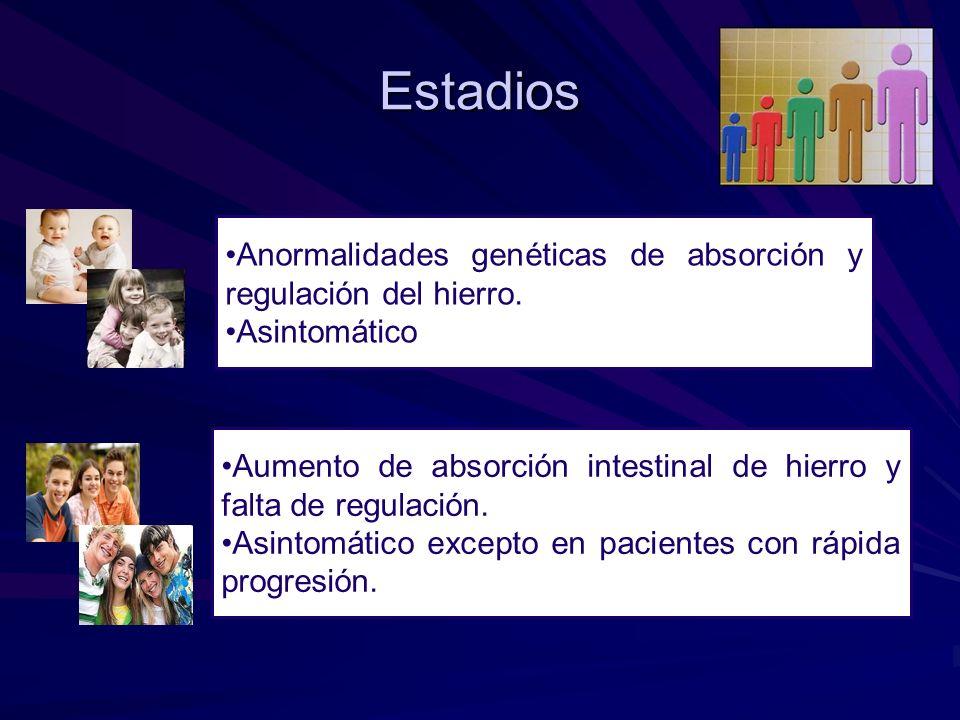 Estadios Anormalidades genéticas de absorción y regulación del hierro. Asintomático Aumento de absorción intestinal de hierro y falta de regulación. A