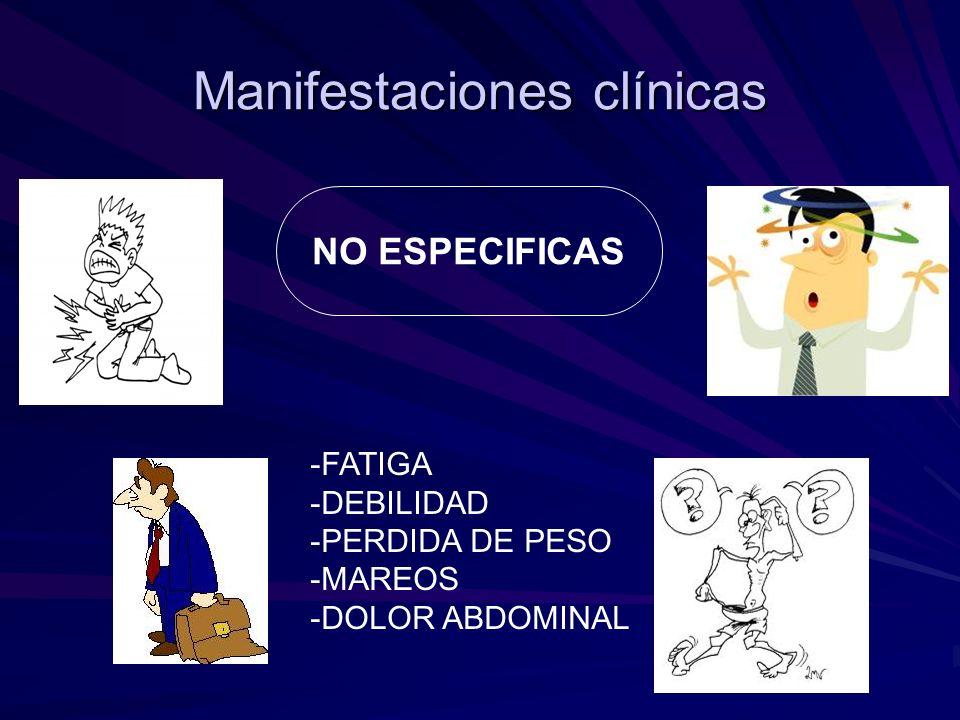 Manifestaciones clínicas NO ESPECIFICAS -FATIGA -DEBILIDAD -PERDIDA DE PESO -MAREOS -DOLOR ABDOMINAL
