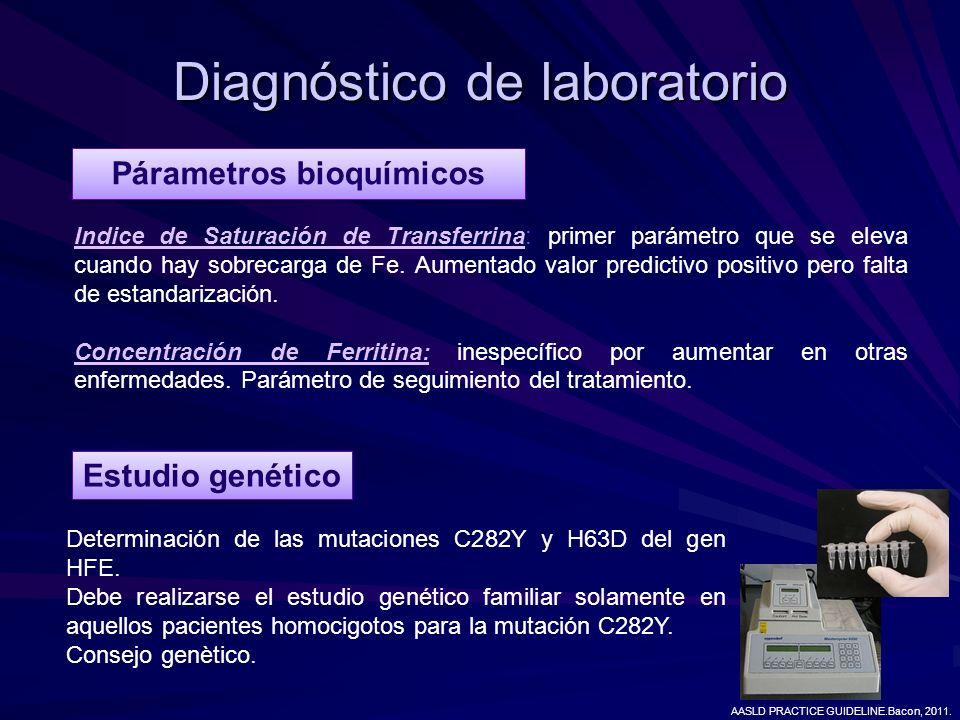 Diagnóstico de laboratorio Párametros bioquímicos Indice de Saturación de Transferrina: primer parámetro que se eleva cuando hay sobrecarga de Fe. Aum
