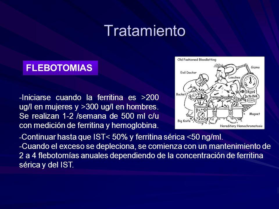 Tratamiento FLEBOTOMIAS -Iniciarse cuando la ferritina es >200 ug/l en mujeres y >300 ug/l en hombres. Se realizan 1-2 /semana de 500 ml c/u con medic