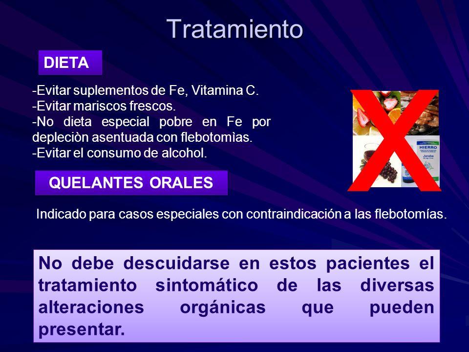 Tratamiento QUELANTES ORALES Indicado para casos especiales con contraindicación a las flebotomías. No debe descuidarse en estos pacientes el tratamie