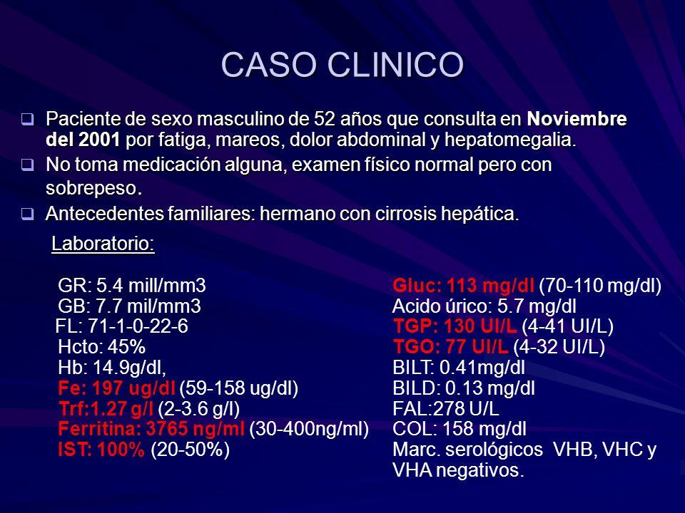 CASO CLINICO Paciente de sexo masculino de 52 años que consulta en Noviembre del 2001 por fatiga, mareos, dolor abdominal y hepatomegalia. Paciente de