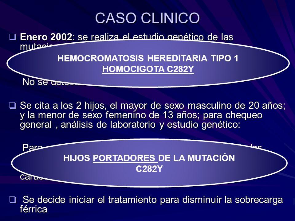 CASO CLINICO Enero 2002: se realiza el estudio genético de las mutaciones para HH en el paciente. Enero 2002: se realiza el estudio genético de las mu