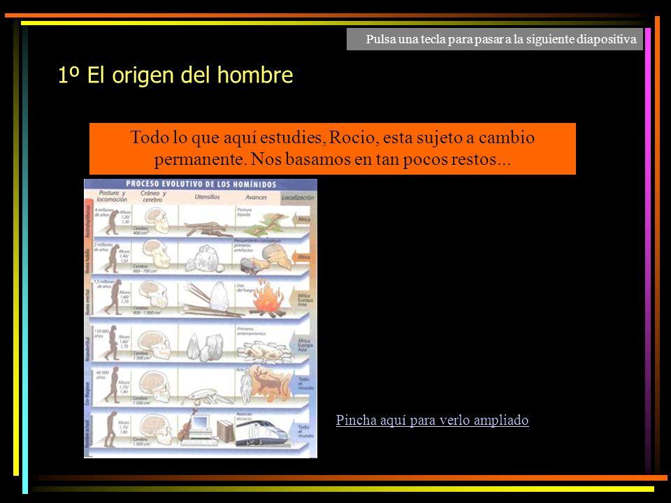 1º El origen del hombre Todo lo que aquí estudies, Rocio, esta sujeto a cambio permanente.