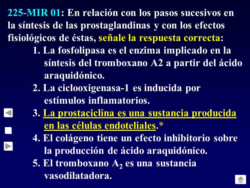 225-MIR 01: En relación con los pasos sucesivos en la síntesis de las prostaglandinas y con los efectos fisiológicos de éstas, señale la respuesta cor