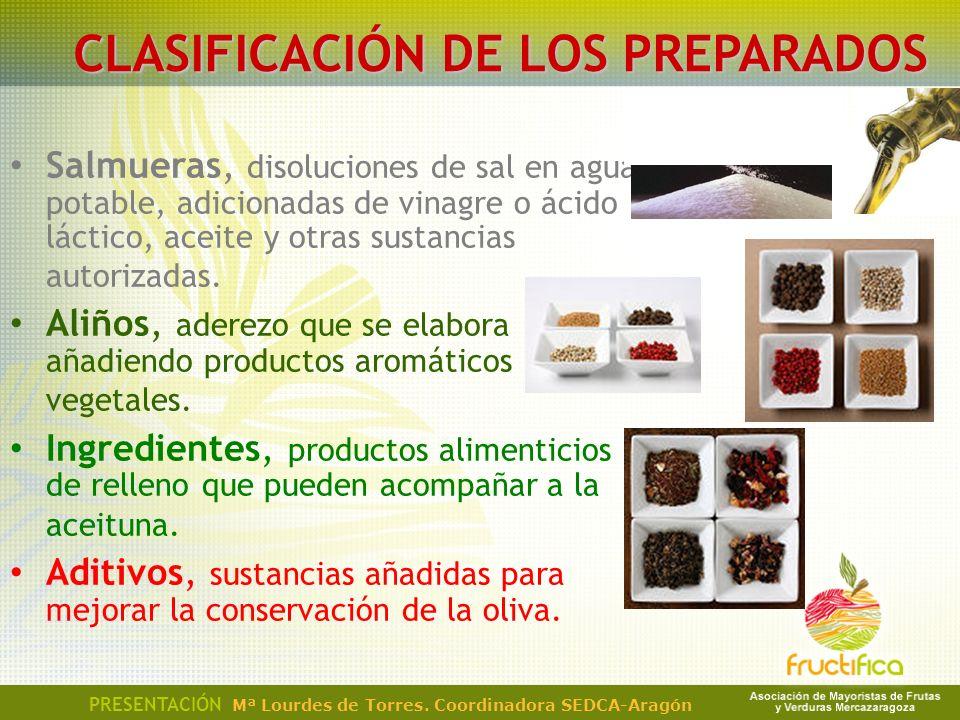 PRESENTACIÓN Mª Lourdes de Torres. Coordinadora SEDCA-Aragón CLASIFICACIÓN DE LOS PREPARADOS Salmueras, disoluciones de sal en agua potable, adicionad