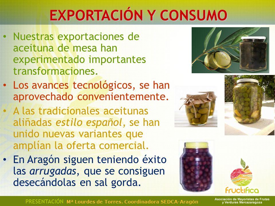 Nuestras exportaciones de aceituna de mesa han experimentado importantes transformaciones. Los avances tecnológicos, se han aprovechado convenientemen