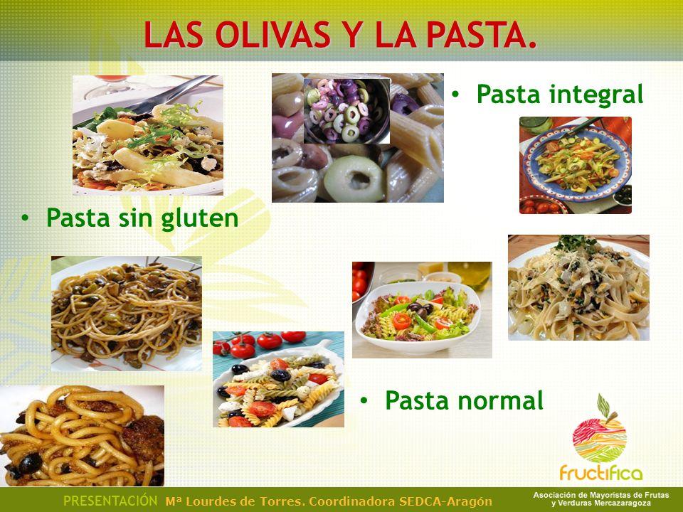 Pasta sin gluten PRESENTACIÓN Mª Lourdes de Torres. Coordinadora SEDCA-Aragón LAS OLIVAS Y LA PASTA. Pasta integral Pasta normal