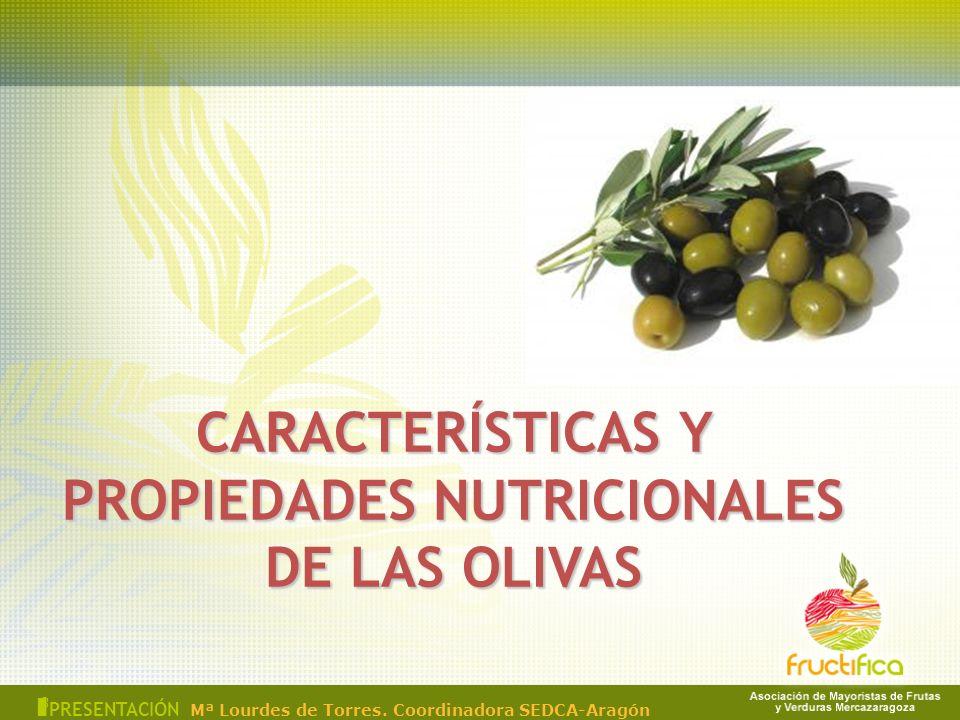 CARACTERÍSTICAS Y PROPIEDADES NUTRICIONALES DE LAS OLIVAS 3 I PRESENTACIÓN Mª Lourdes de Torres. Coordinadora SEDCA-Aragón