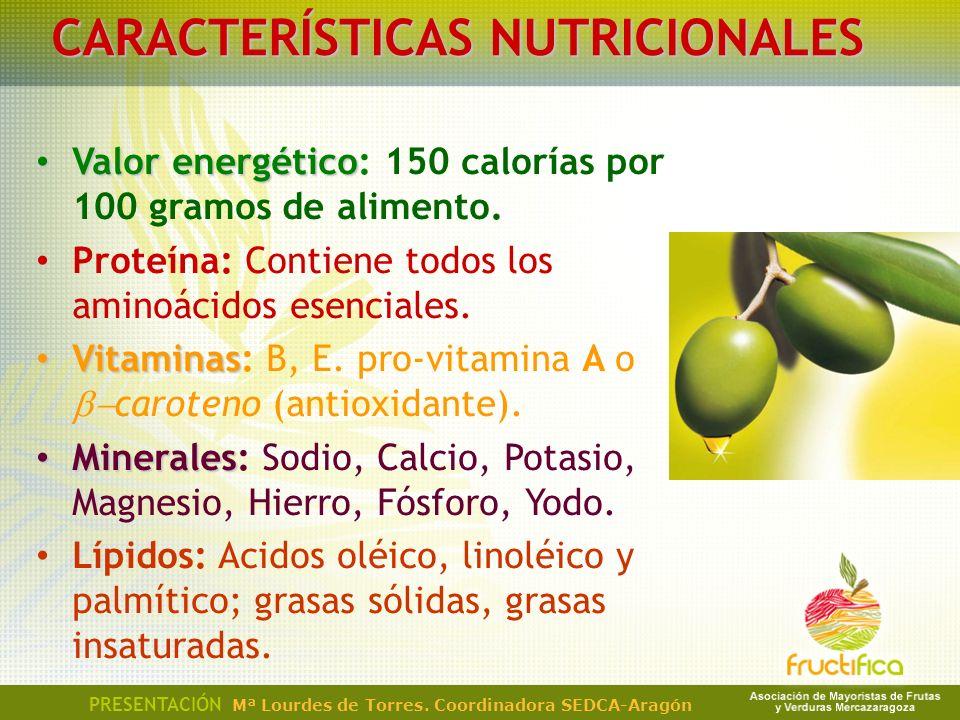 CARACTERÍSTICAS NUTRICIONALES Valor energético Valor energético: 150 calorías por 100 gramos de alimento. Proteína: Contiene todos los aminoácidos ese