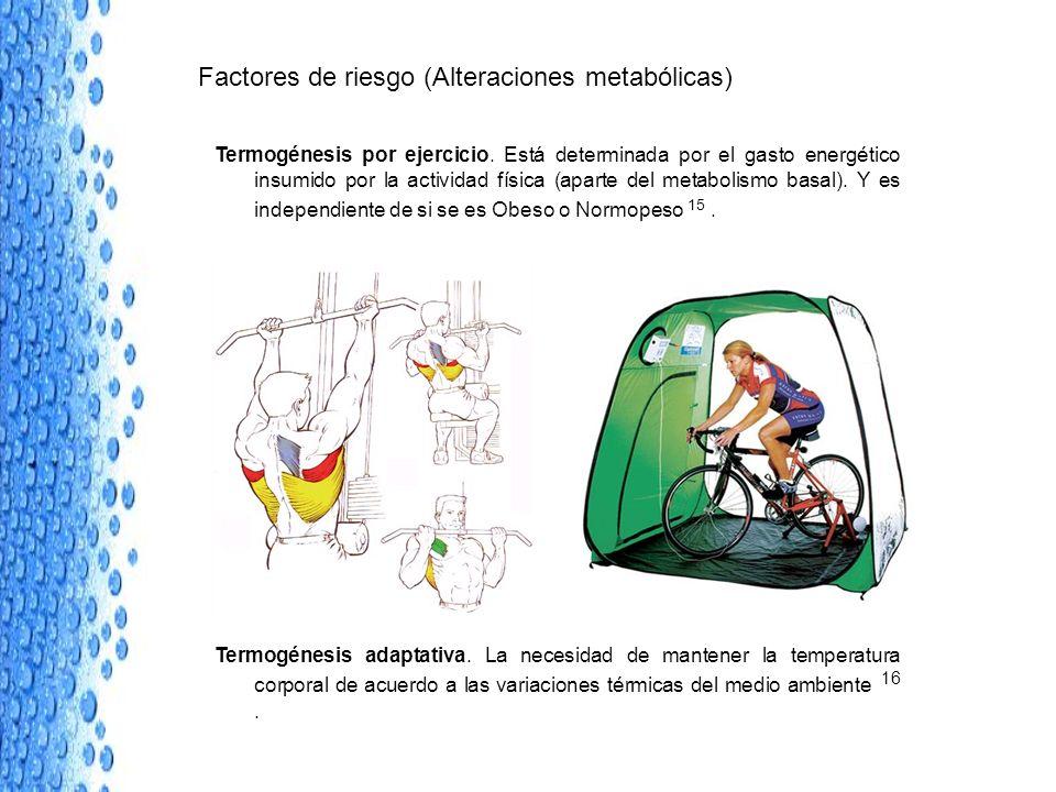 Factores de riesgo (Alteraciones metabólicas) Termogénesis por ejercicio. Está determinada por el gasto energético insumido por la actividad física (a