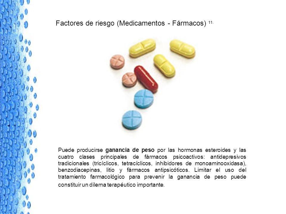 Factores de riesgo (Medicamentos - Fármacos) 11. Puede producirse ganancia de peso por las hormonas esteroides y las cuatro clases principales de fárm