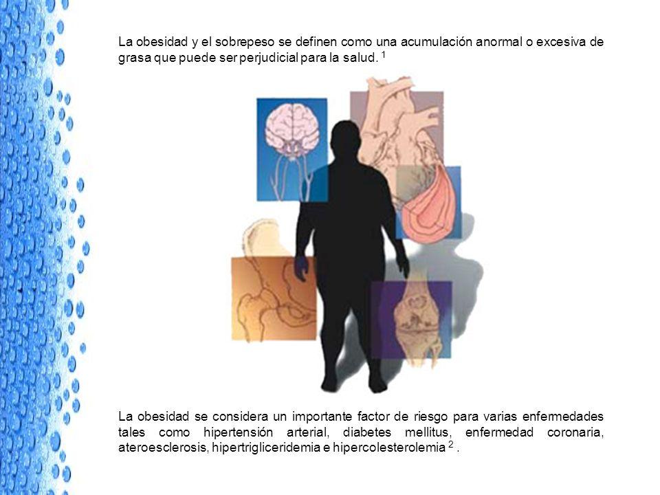 La obesidad y el sobrepeso se definen como una acumulación anormal o excesiva de grasa que puede ser perjudicial para la salud. 1 La obesidad se consi