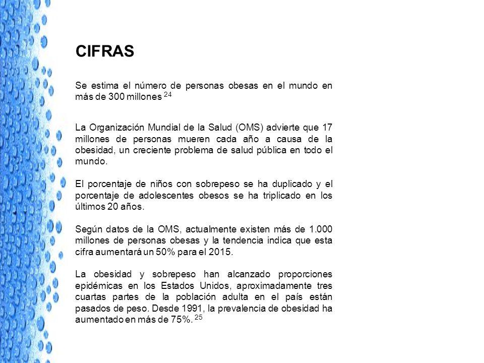 CIFRAS Se estima el número de personas obesas en el mundo en más de 300 millones 24 La Organización Mundial de la Salud (OMS) advierte que 17 millones