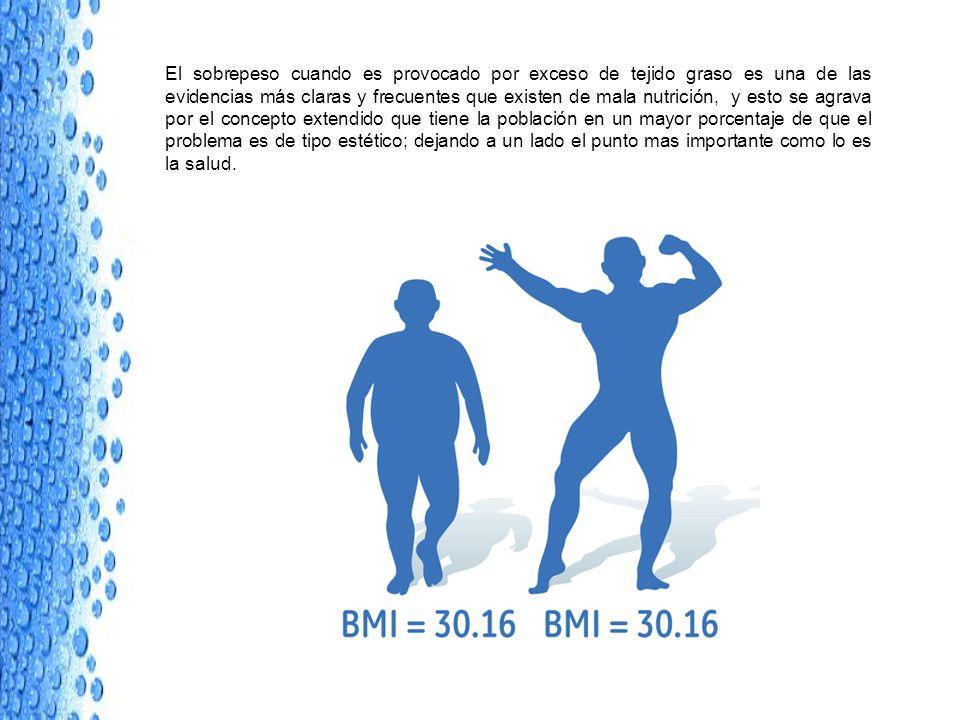 El sobrepeso cuando es provocado por exceso de tejido graso es una de las evidencias más claras y frecuentes que existen de mala nutrición, y esto se