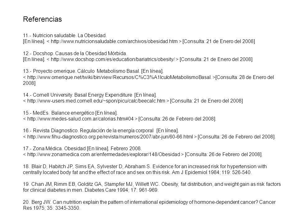Referencias 11.- Nutricion saludable. La Obesidad. [En línea]. [Consulta: 21 de Enero del 2008] 12.- Docshop. Causas de la Obesidad Mórbida. [En línea