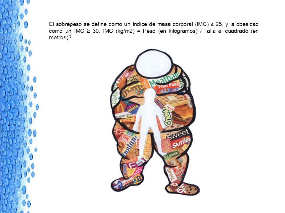 El sobrepeso se define como un índice de masa corporal (IMC) 25, y la obesidad como un IMC 30. IMC (kg/m2) = Peso (en kilogramos) / Talla al cuadrado
