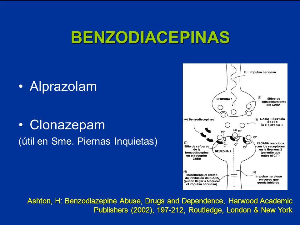 BENZODIACEPINAS Alprazolam Clonazepam (útil en Sme. Piernas Inquietas) Ashton, H: Benzodiazepine Abuse, Drugs and Dependence, Harwood Academic Publish