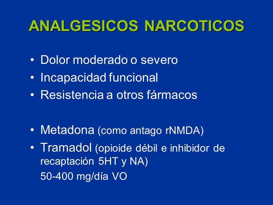 ANALGESICOS NARCOTICOS Dolor moderado o severo Incapacidad funcional Resistencia a otros fármacos Metadona (como antago rNMDA) TramadolTramadol (opioi