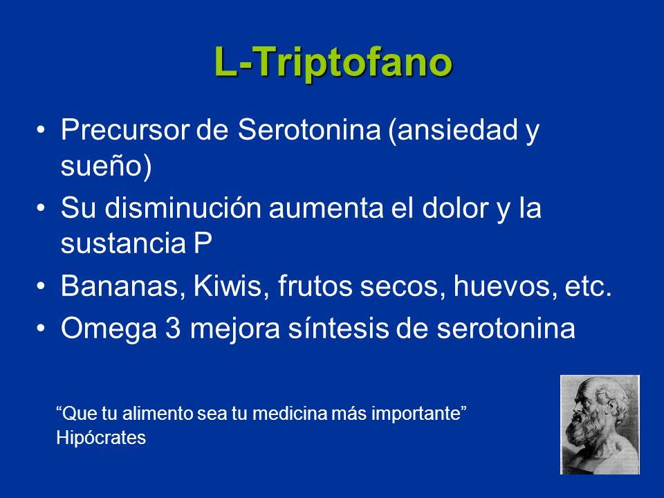 L-Triptofano Precursor de Serotonina (ansiedad y sueño) Su disminución aumenta el dolor y la sustancia P Bananas, Kiwis, frutos secos, huevos, etc. Om