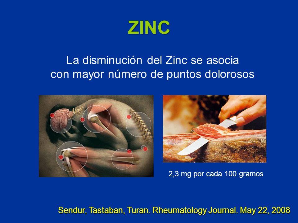 ZINC Sendur, Tastaban, Turan. Rheumatology Journal. May 22, 2008 La disminución del Zinc se asocia con mayor número de puntos dolorosos 2,3 mg por cad