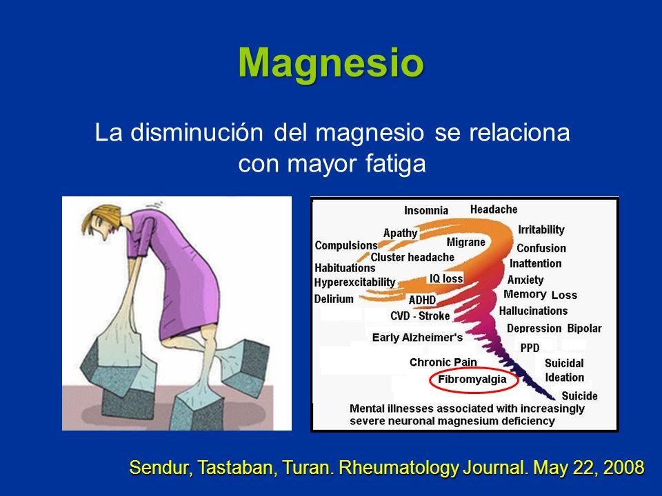 Magnesio La disminución del magnesio se relaciona con mayor fatiga Sendur, Tastaban, Turan. Rheumatology Journal. May 22, 2008