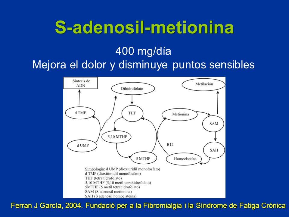 S-adenosil-metionina 400 mg/día Mejora el dolor y disminuye puntos sensibles Ferran J García, 2004. Fundació per a la Fibromialgia i la Síndrome de Fa