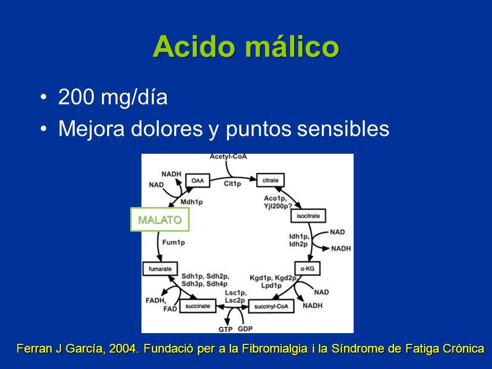 Acido málico 200 mg/día Mejora dolores y puntos sensibles Ferran J García, 2004. Fundació per a la Fibromialgia i la Síndrome de Fatiga Crónica MALATO