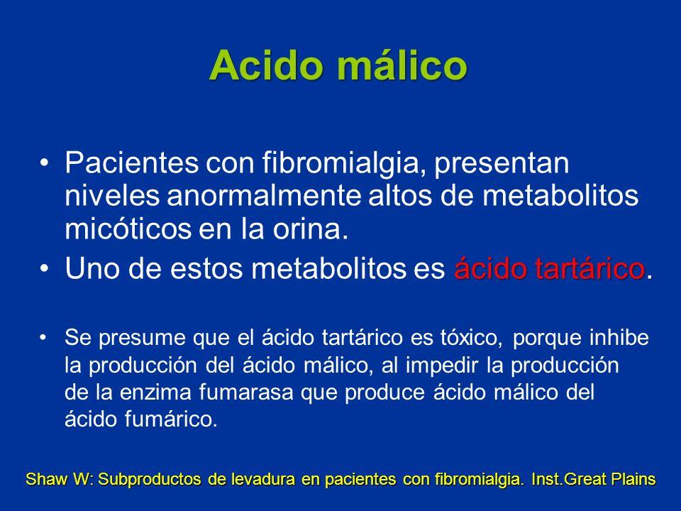 Pacientes con fibromialgia, presentan niveles anormalmente altos de metabolitos micóticos en la orina. ácido tartárico.Uno de estos metabolitos es áci