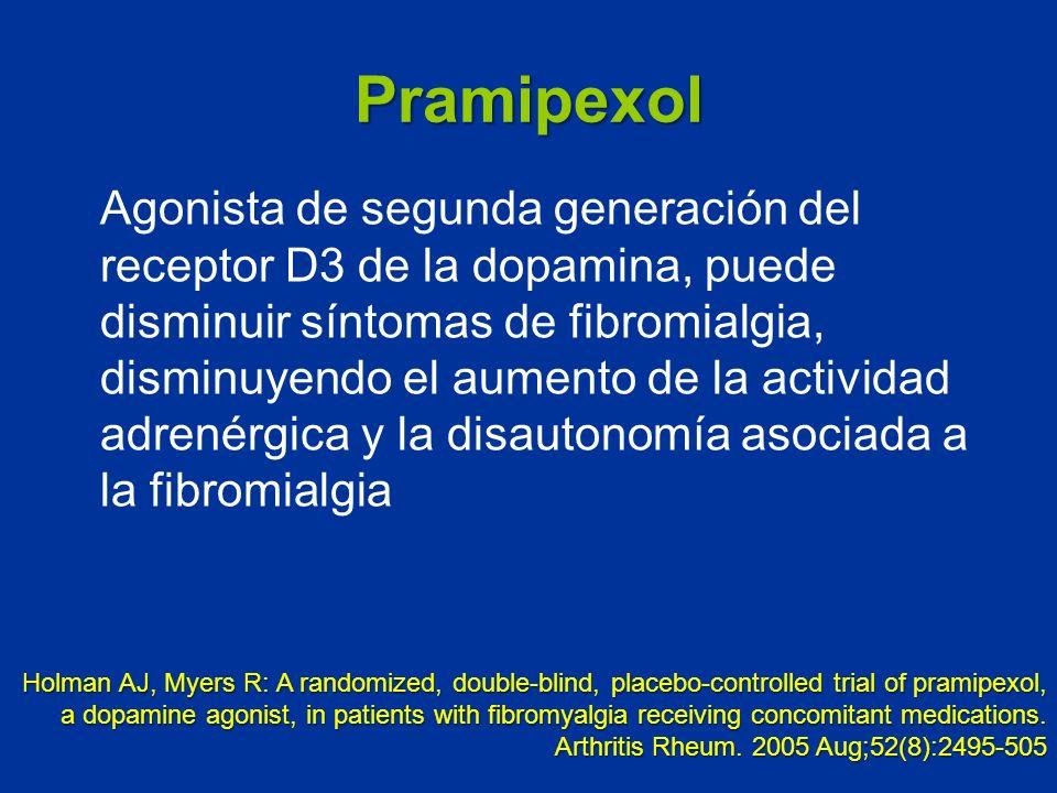 Pramipexol Agonista de segunda generación del receptor D3 de la dopamina, puede disminuir síntomas de fibromialgia, disminuyendo el aumento de la acti