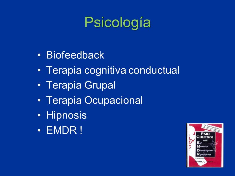 Psicología Biofeedback Terapia cognitiva conductual Terapia Grupal Terapia Ocupacional Hipnosis EMDR !