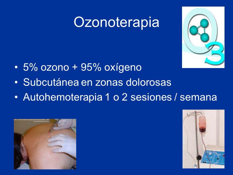 Ozonoterapia 5% ozono + 95% oxígeno Subcutánea en zonas dolorosas Autohemoterapia 1 o 2 sesiones / semana