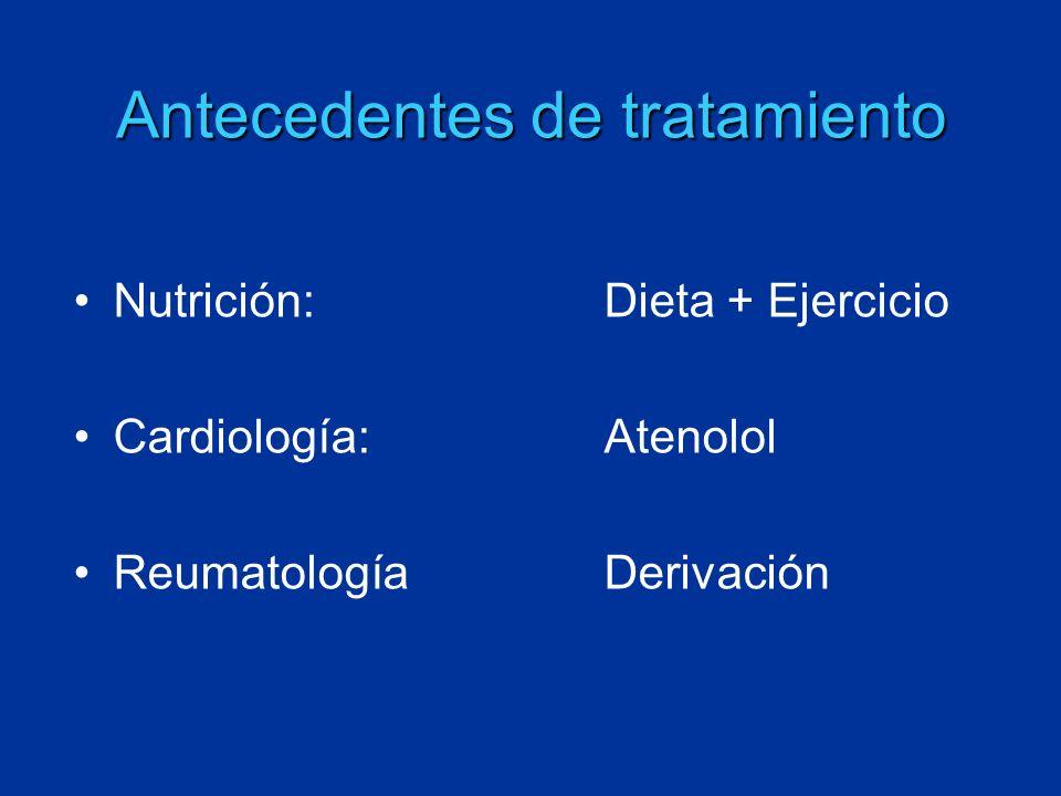 Antecedentes de tratamiento Nutrición:Dieta + Ejercicio Cardiología:Atenolol ReumatologíaDerivación
