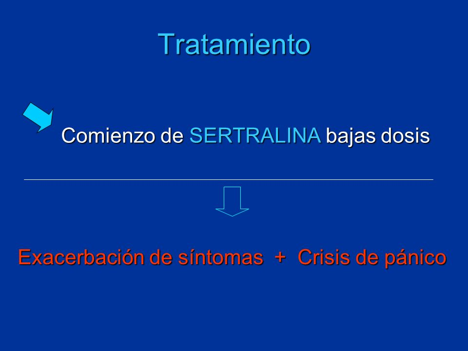 Tratamiento Comienzo de SERTRALINA bajas dosis Exacerbación de síntomas + Crisis de pánico