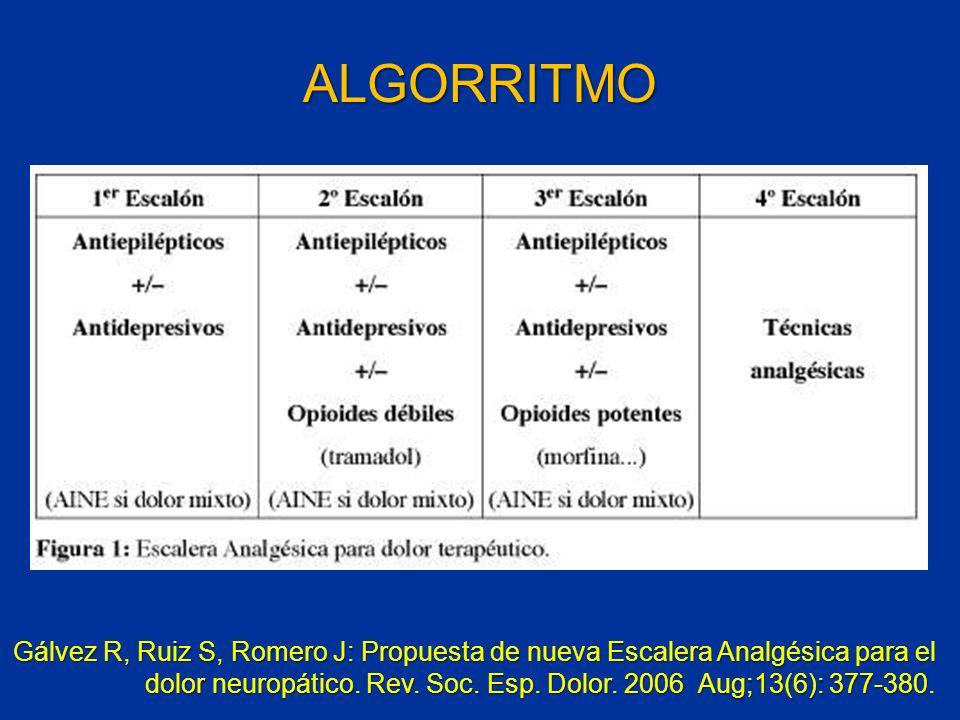 Gálvez R, Ruiz S, Romero J: Propuesta de nueva Escalera Analgésica para el dolor neuropático. Rev. Soc. Esp. Dolor. 2006 Aug;13(6): 377-380. ALGORRITM