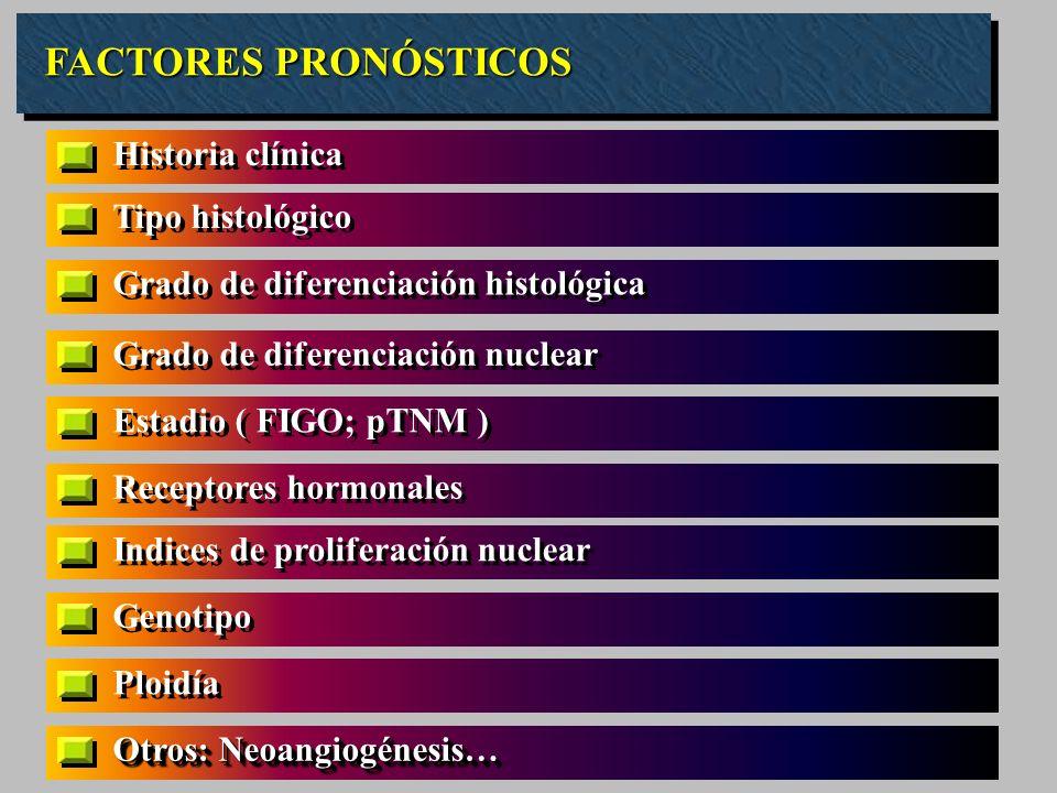 FACTORES PRONÓSTICOS Tipo histológico Grado de diferenciación histológica Grado de diferenciación nuclear Estadio ( FIGO; pTNM ) Receptores hormonales