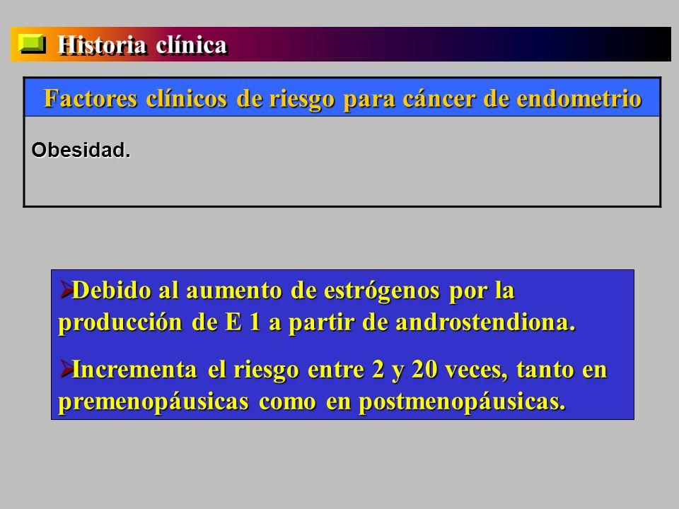 Historia clínica Factores clínicos de riesgo para cáncer de endometrio Obesidad. Debido al aumento de estrógenos por la producción de E 1 a partir de