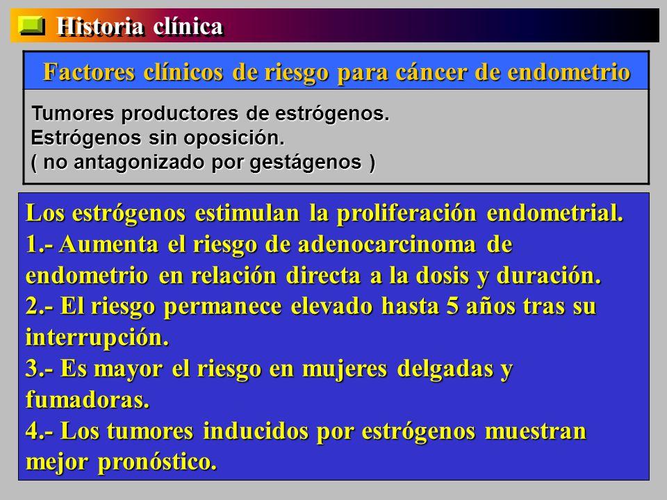 Historia clínica Factores clínicos de riesgo para cáncer de endometrio Tumores productores de estrógenos. Estrógenos sin oposición. ( no antagonizado