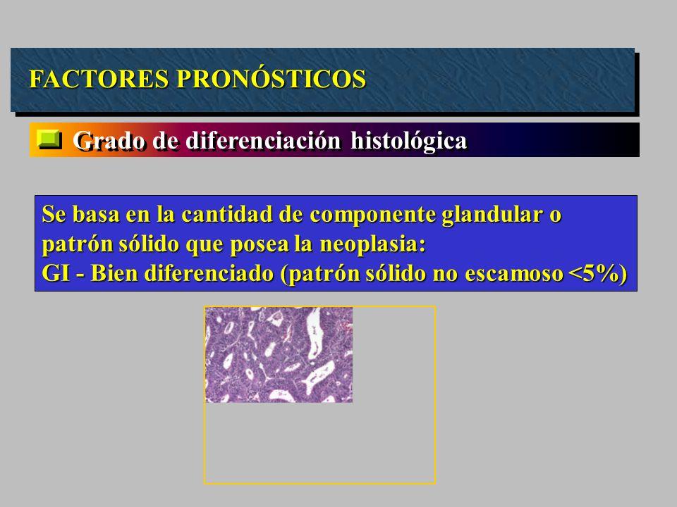 FACTORES PRONÓSTICOS Grado de diferenciación histológica Se basa en la cantidad de componente glandular o patrón sólido que posea la neoplasia: GI - B