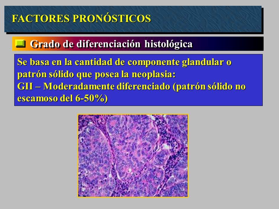 FACTORES PRONÓSTICOS Grado de diferenciación histológica Se basa en la cantidad de componente glandular o patrón sólido que posea la neoplasia: GII –