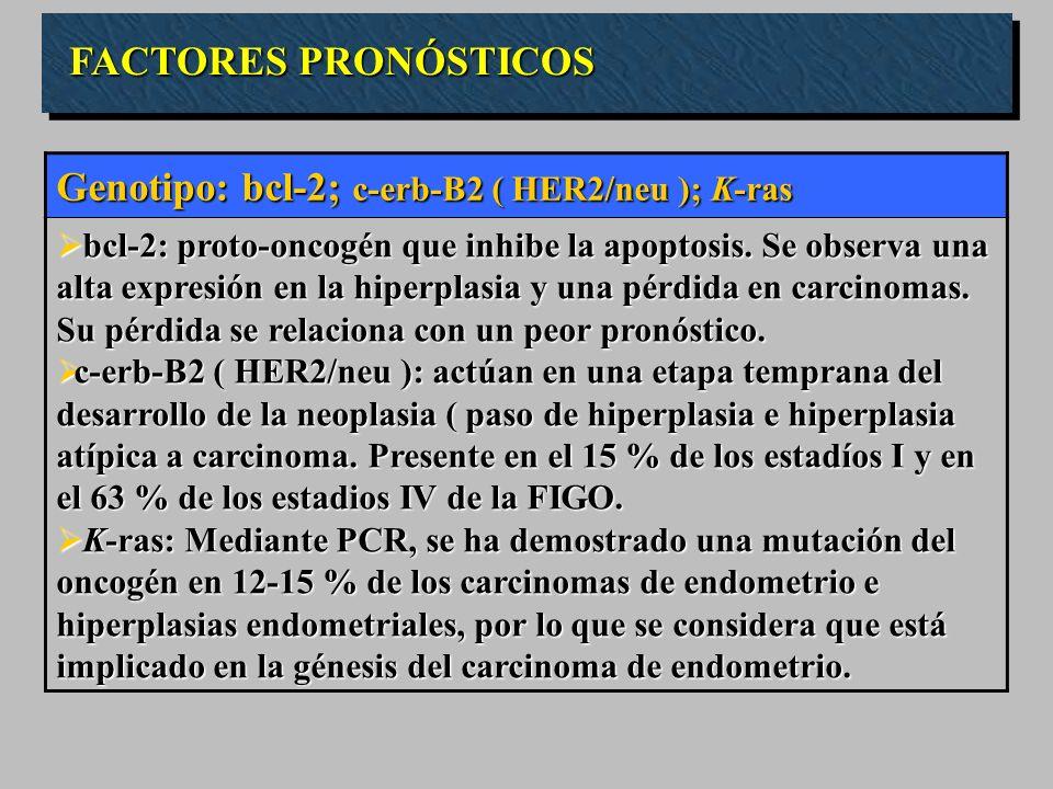FACTORES PRONÓSTICOS Genotipo: bcl-2; c-erb-B2 ( HER2/neu ); K-ras bcl-2: proto-oncogén que inhibe la apoptosis. Se observa una alta expresión en la h