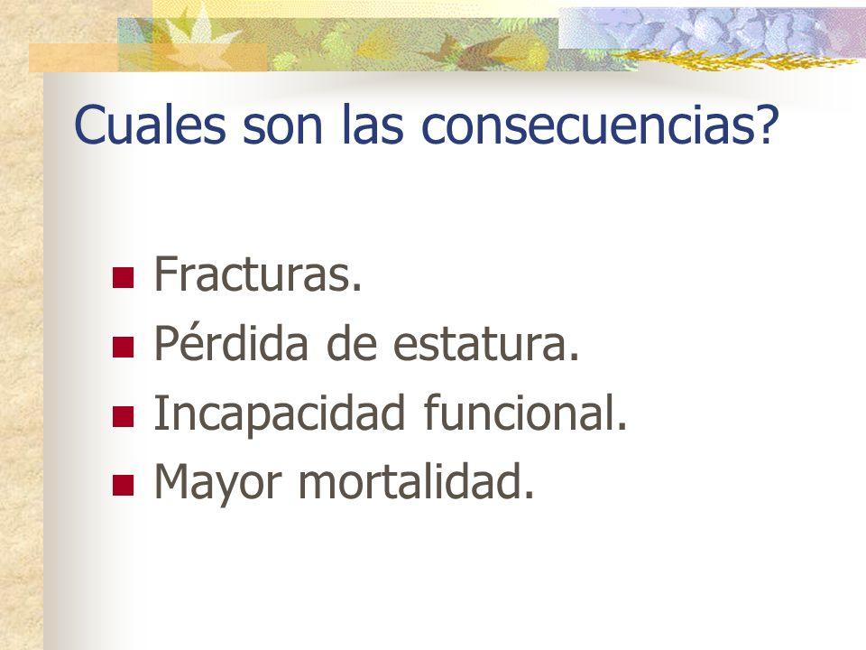 Cuales son las consecuencias? Fracturas. Pérdida de estatura. Incapacidad funcional. Mayor mortalidad.