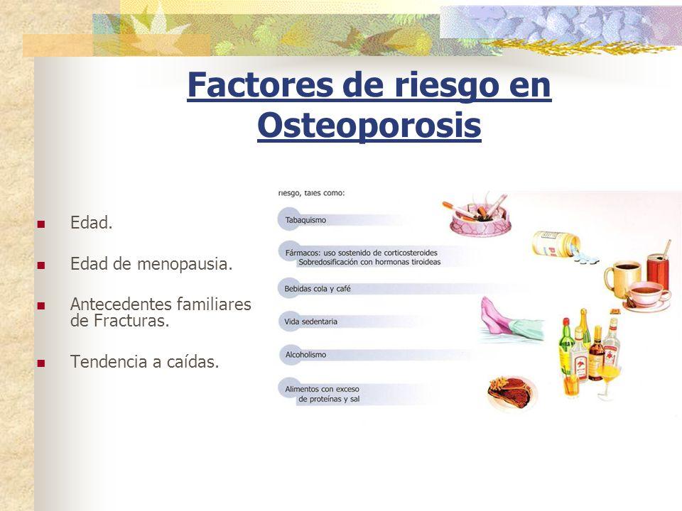 Factores de riesgo en Osteoporosis Edad. Edad de menopausia. Antecedentes familiares de Fracturas. Tendencia a caídas.